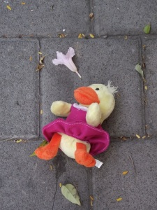 duck toy on street